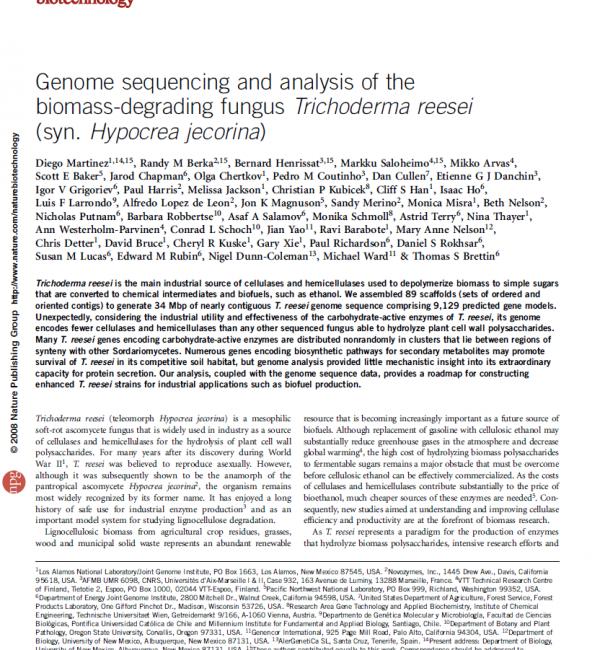 Trichoderma reesei genome Nature Biotechnology