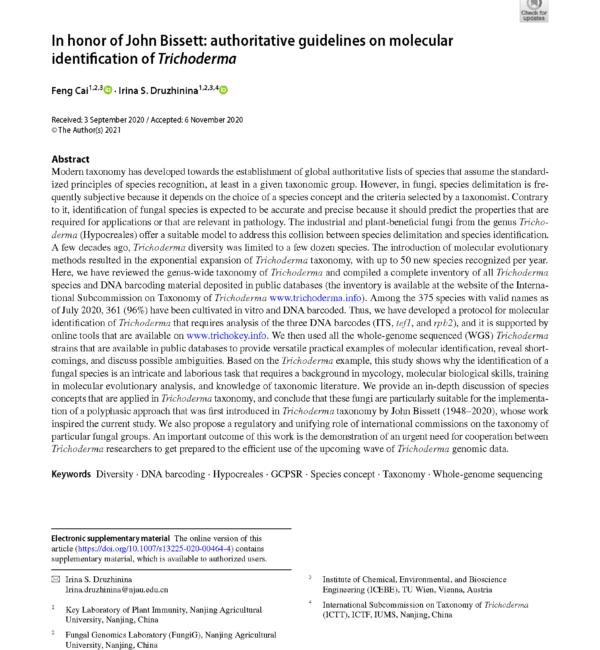 Cai and Druzhinina, 2021 Trichoderma identification protocol